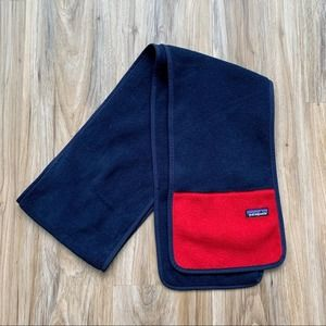 PATAGONIA Long Fleece Scarf Navy Blue and Red